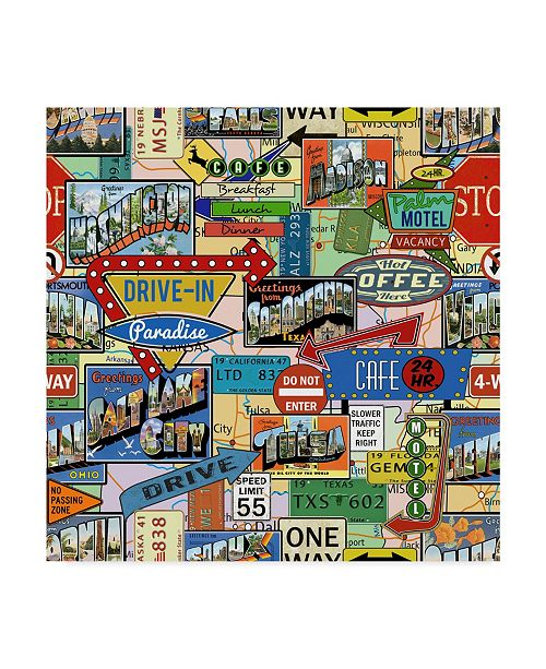 """Trademark Global Jean Plout 'Travel Signs' Canvas Art - 35"""" x 35"""""""