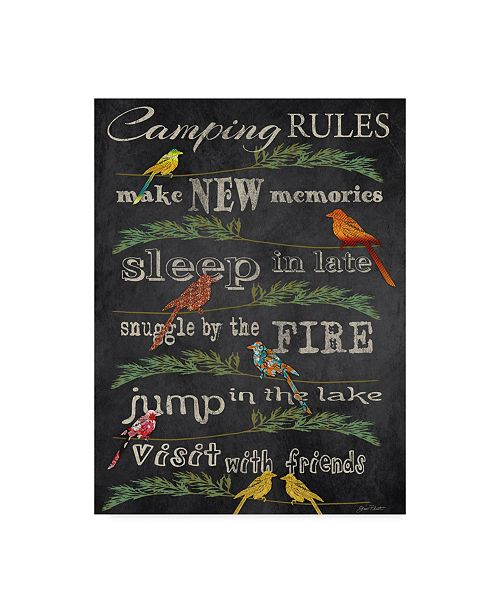 """Trademark Global Jean Plout 'Camping Rules Chalkboard' Canvas Art - 35"""" x 47"""""""