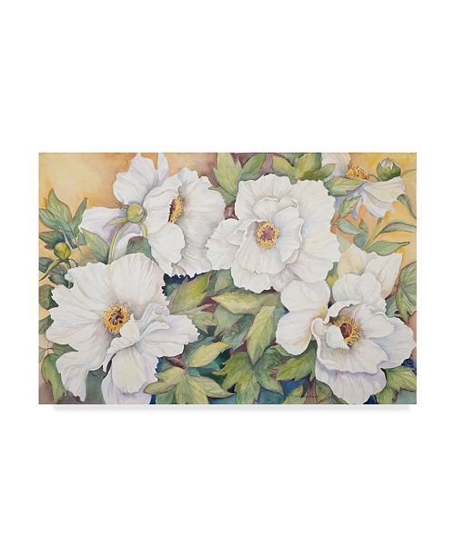 "Trademark Global Joanne Porter 'Peonies Dressed In White' Canvas Art - 30"" x 47"""