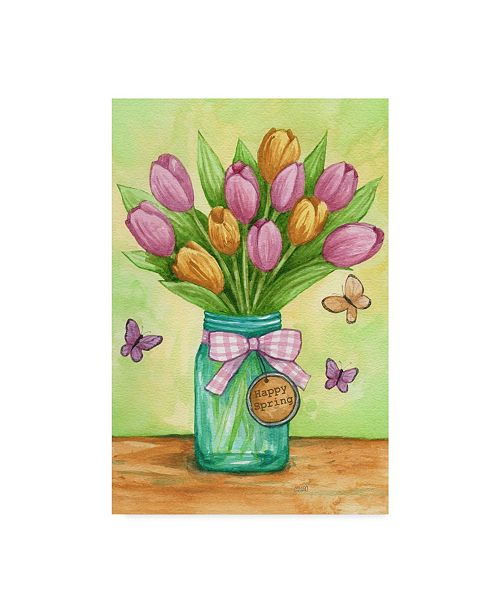 "Trademark Global Melinda Hipsher 'Happy Spring Tulips New' Canvas Art - 30"" x 47"""