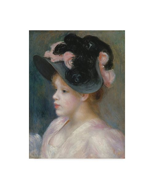 """Trademark Global Pierre Auguste Renoir 'Young Girl In A Pink And Black Hat' Canvas Art - 32"""" x 24"""""""