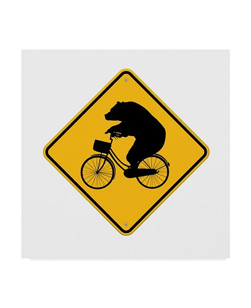 "Trademark Global J Hovenstine Studios 'Bears On Bikes Crossing Sign' Canvas Art - 35"" x 35"""