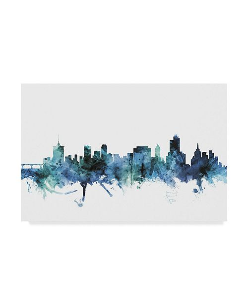 "Trademark Global Michael Tompsett 'Tulsa Oklahoma Blue Teal Skyline' Canvas Art - 32"" x 22"""