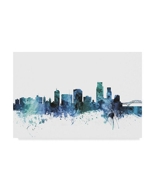 "Trademark Global Michael Tompsett 'Corpus Christie Texas Blue Teal Skyline' Canvas Art - 47"" x 30"""
