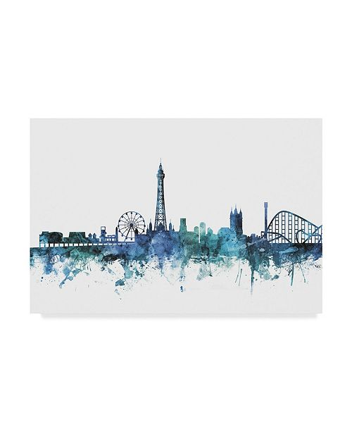 "Trademark Global Michael Tompsett 'Blackpool England Blue Teal Skyline' Canvas Art - 24"" x 16"""