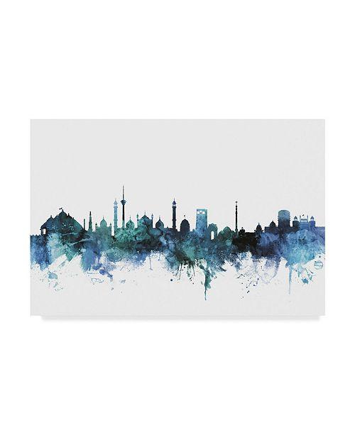 "Trademark Global Michael Tompsett 'New Delhi India Blue Teal Skyline' Canvas Art - 32"" x 22"""