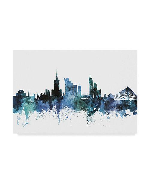 "Trademark Global Michael Tompsett 'Warsaw Poland Blue Teal Skyline' Canvas Art - 32"" x 22"""