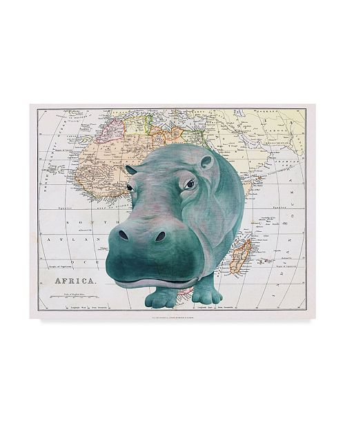 "Trademark Global Jane Wilson 'African Hippo' Canvas Art - 32"" x 24"""