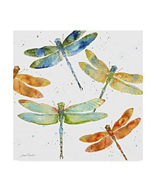 """Jean Plout 'Dragonfly Bliss 1' Canvas Art - 35"""" x 35"""""""
