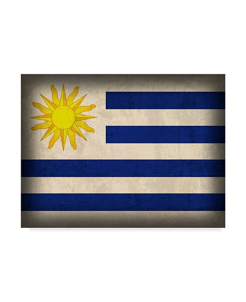 "Trademark Global Red Atlas Designs 'Uruguay Distressed Flag' Canvas Art - 47"" x 35"""