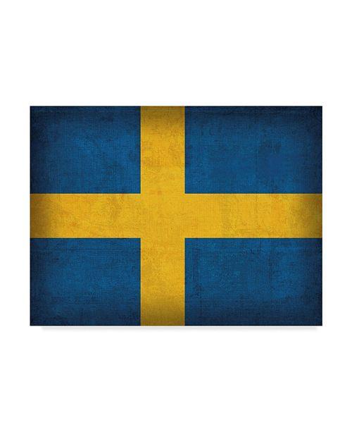 "Trademark Global Red Atlas Designs 'Sweden Distressed Flag' Canvas Art - 47"" x 35"""