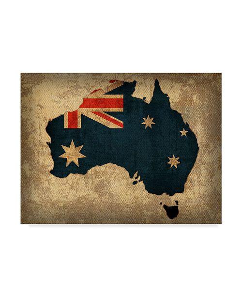"Trademark Global Red Atlas Designs 'Australia Country Flag Map' Canvas Art - 32"" x 24"""