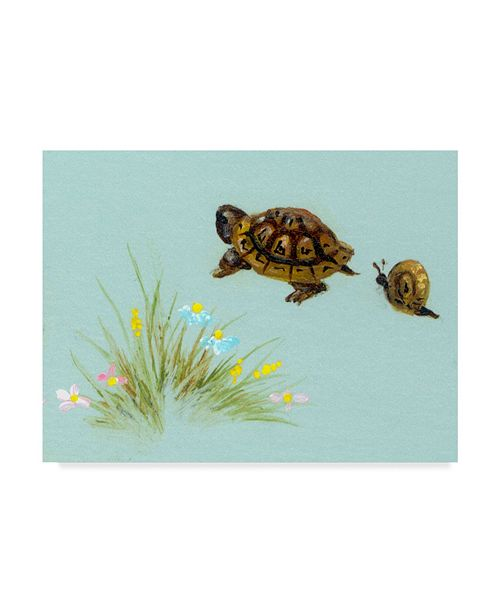"Trademark Global Peggy Harris 'Spring Fling - Turtle And Snail' Canvas Art - 32"" x 24"""