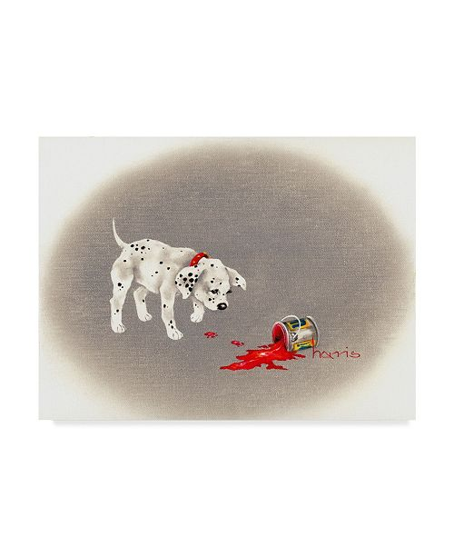 """Trademark Global Peggy Harris 'Dalmatian Caught Red Pawed' Canvas Art - 24"""" x 18"""""""