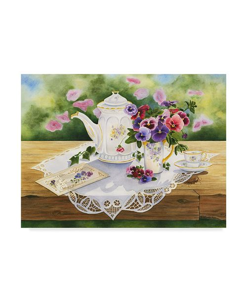 "Trademark Global Mary Irwin 'Victorian Tea In The Garden' Canvas Art - 47"" x 35"""
