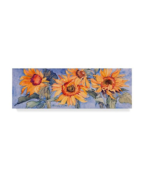 "Trademark Global Sharon Pitts 'Sunflowers Over Blue' Canvas Art - 24"" x 8"""