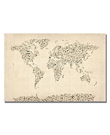 """Michael Tompsett 'Music Note World Map' Canvas Art - 47"""" x 30"""""""