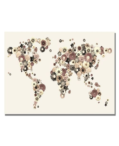 "Trademark Global Michael Tompsett 'Flowers World Map' Canvas Art - 32"" x 22"""