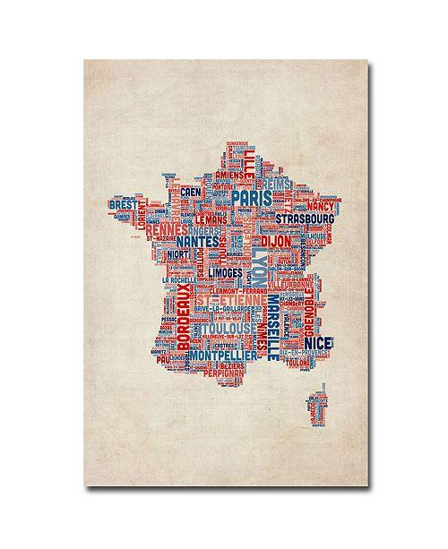 """Trademark Global Michael Tompsett 'France - Cities Text Map' Canvas Art - 47"""" x 30"""""""