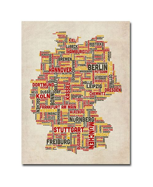 "Trademark Global Michael Tompsett 'Germany Text Map II' Canvas Art - 32"" x 24"""