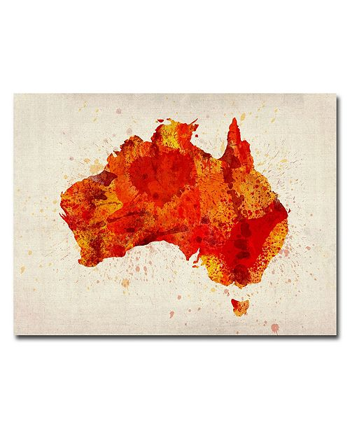 "Trademark Global Michael Tompsett 'Australia - Paint Splashes' Canvas Art - 24"" x 18"""