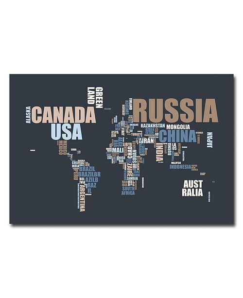 """Trademark Global Michael Tompsett 'World Text Map' Canvas Art - 24"""" x 18"""""""