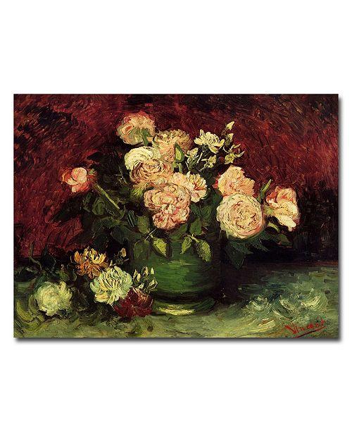 "Trademark Global Vincent van Gogh 'Peonies and Roses' Canvas Art - 32"" x 26"""