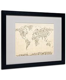 """Michael Tompsett 'World Map - Music Notes' Framed Matted Art - 20"""" x 16"""""""