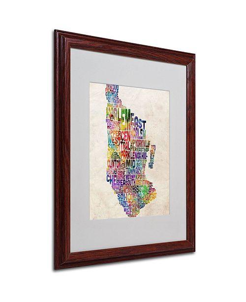 "Trademark Global Michael Tompsett 'Manhatan Typography Map' Matted Framed Art - 20"" x 16"""