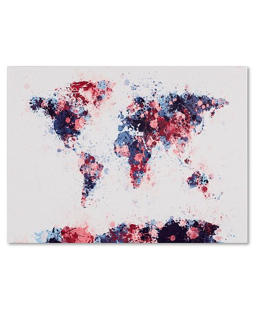 "Trademark Global Michael Tompsett 'Paint Splashes World Map 3' Canvas Art - 47"" x 30"""