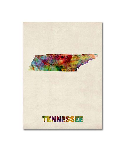"""Trademark Global Michael Tompsett 'Tennessee Map' Canvas Art - 32"""" x 24"""""""