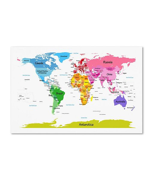 "Trademark Global Michael Tompsett 'World Map for Kids II' Canvas Art - 32"" x 22"""
