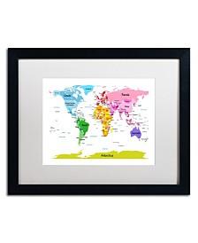 """Michael Tompsett 'World Map for Kids II' Matted Framed Art - 20"""" x 16"""""""