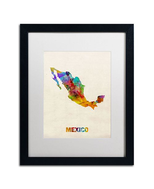 "Trademark Global Michael Tompsett 'Mexico Watercolor Map' Matted Framed Art - 20"" x 16"""