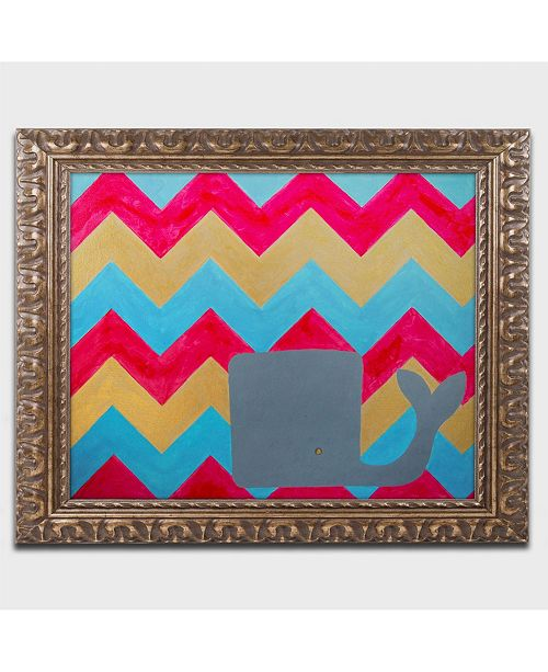 "Trademark Global Nicole Dietz 'Pink and Gold Whale Chevron' Ornate Framed Art - 20"" x 16"""