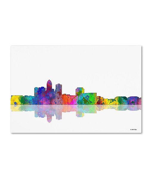"Trademark Global Marlene Watson 'Des Moines Iowa Skyline' Canvas Art - 22"" x 32"""