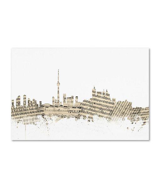"Trademark Global Michael Tompsett 'Toronto Canada Skyline Sheet Music' Canvas Art - 30"" x 47"""