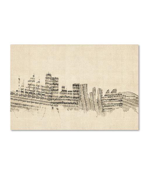 "Trademark Global Michael Tompsett 'Sydney Australia Skyline Sheet Music' Canvas Art - 30"" x 47"""