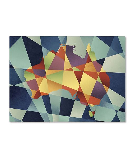 "Trademark Global Michael Tompsett 'Australia Geometric Retro Map' Canvas Art - 24"" x 32"""