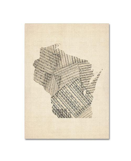 "Trademark Global Michael Tompsett 'Old Sheet Music Map of Wisconsin' Canvas Art - 24"" x 32"""