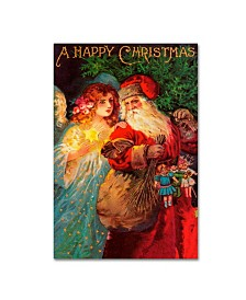 """Vintage Apple Collection 'Happy Christmas' Canvas Art - 12"""" x 19"""""""