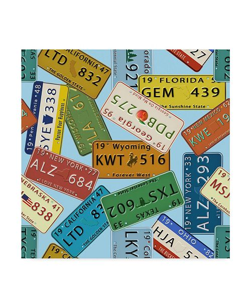 """Trademark Global Jean Plout 'Classic License Plates Blue' Canvas Art - 14"""" x 14"""""""