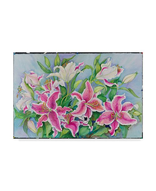 "Trademark Global Joanne Porter 'Lilies And Buds' Canvas Art - 12"" x 19"""