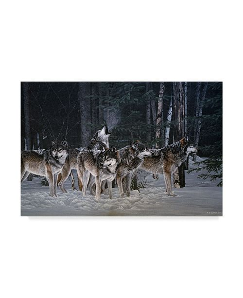 """Trademark Global Ron Parker 'Breaking The Silence Wolves' Canvas Art - 12"""" x 19"""""""