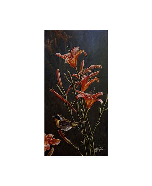 """Trademark Global Wilhelm Goebel 'Yellowthroat And Daylilies' Canvas Art - 10"""" x 19"""""""
