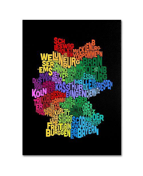 "Trademark Global Michael Tompsett 'Germany Region Text Map 3' Canvas Art - 14"" x 19"""