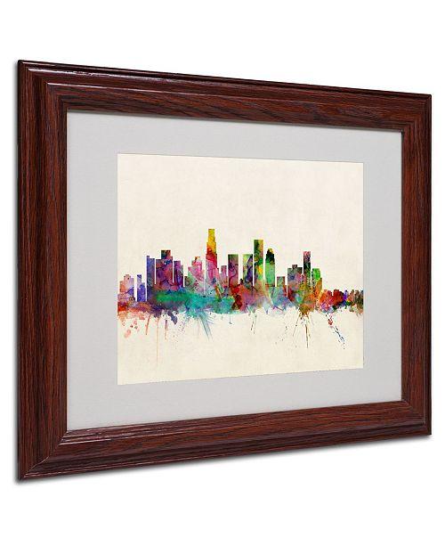 """Trademark Global Michael Tompsett 'Los Angeles California' Matted Framed Art - 14"""" x 11"""""""