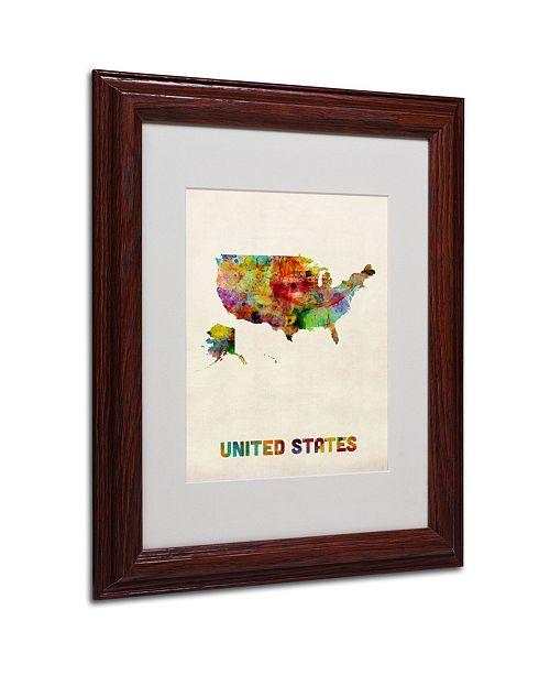 "Trademark Global Michael Tompsett 'US Watercolor Map' Matted Framed Art - 14"" x 11"""