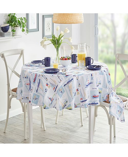 "Elrene Sail Away Stain Resistant Indoor Outdoor 70"" Round Tablecloth"