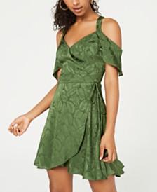 City Studios Juniors' Cold-Shoulder Faux-Wrap Dress